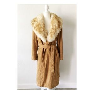 Vintage 1970's Penny Lane style suede fur trench